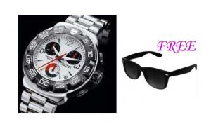 Free Sun Glasses With Stylish Watch For Men Sfgw41