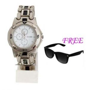 Free Sun Glasses With Stylish Watch For Men Sfgw42