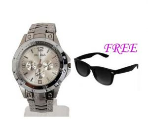 Free Sun Glasses With Stylish Watch For Men Sfgw7