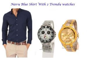 Stylish Navy Blue Shirt 2 Trendy Watches 113
