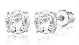 Silver Earrings - Hi Lifestyles Silver Base Ear Studs With Cz Solitaire1