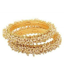 Pearl Bangles, Bracelets - Ethnic Cluster Pearl Bangles (pair)