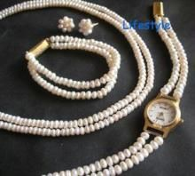 Jewellery Pearl Set With Watch With Bracelet