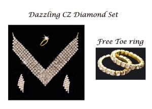 Dazzling Cz Diamond Set With Free Toe Rings