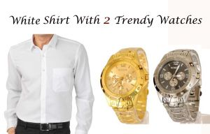 White Shirt With 2 Trendy Watches..102