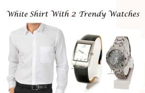 White Shirt With 2 Trendy Watches..110