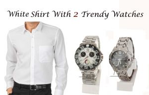 White Shirt With 2 Trendy Watches...112
