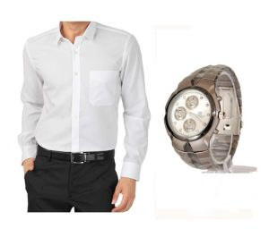 Buy 1 White Shirt And Get 1 Stylish Watch Free... Ls211