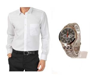 Buy 1 White Shirt And Get 1 Stylish Watch Free... Ls214