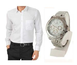 Buy 1 White Shirt And Get 1 Stylish Watch Free Ls201