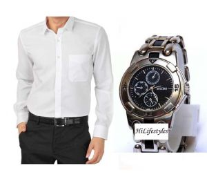 Buy 1 White Shirt And Get 1 Stylish Watch Free ...ls220