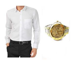 Buy 1 White Shirt And Get 1 Stylish Watch Free ...ls221
