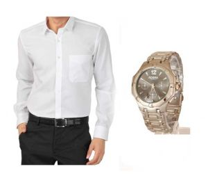 Buy 1 White Shirt And Get 1 Stylish Watch Free Ls235