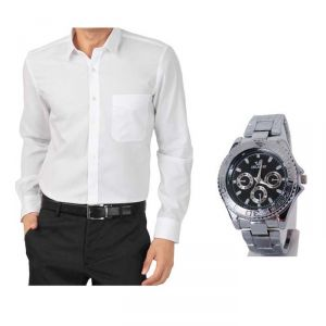 Buy 1 White Shirt And Get 1 Stylish Watch Free ...ls137