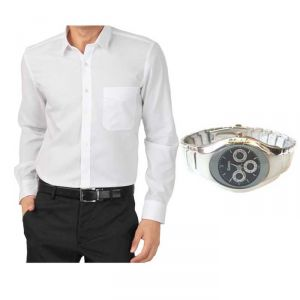 Buy 1 White Shirt And Get 1 Stylish Watch Free ....ls138