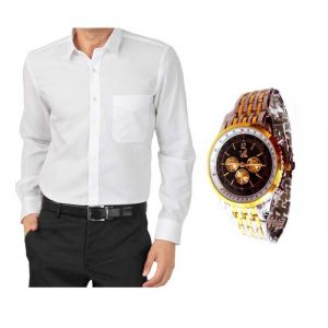Buy 1 White Shirt And Get 1 Stylish Watch Free ....ls240