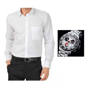Buy 1 White Shirt And Get 1 Stylish Watch Free ...ls241