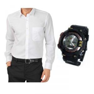 Buy 1 White Shirt And Get 1 Stylish Watch Free ...ls244