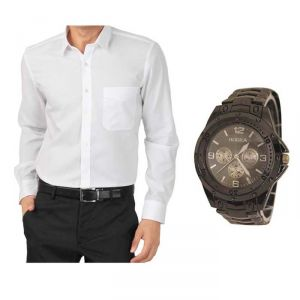 Buy 1 White Shirt And Get 1 Stylish Watch Free ...ls245