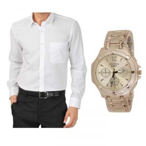 Buy 1 White Shirt And Get 1 Stylish Watch Free ....ls247
