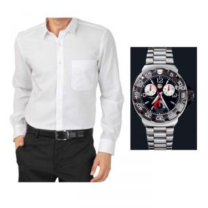 Buy 1 White Shirt And Get 1 Stylish Watch Free... Ls248