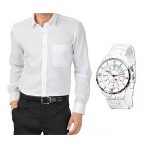 Buy 1 White Shirt And Get 1 Stylish Watch Free ....ls250