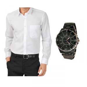 Men's Wear - Buy  1 White Shirt and Get 1 Stylish Watch FREE... LS151