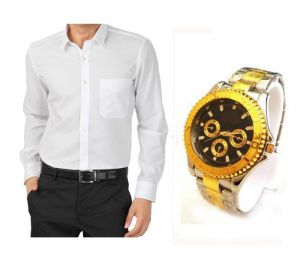 Buy 1 White Shirt And Get 1 Stylish Watch Free... Ls205