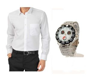Buy 1 White Shirt And Get 1 Stylish Watch Free ...ls208