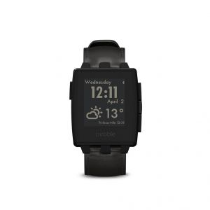 Pebble Steel Smart Watch For iPhone And Android Devices (matte Black) With Leather Band