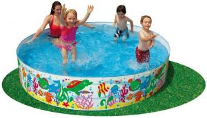 "Intex Inflatable Toys - Intex4'x10"" Happy Animals Clearview Snapset Pool"