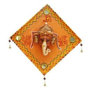 Ganesha With Omm And Swastik Wall Hanging