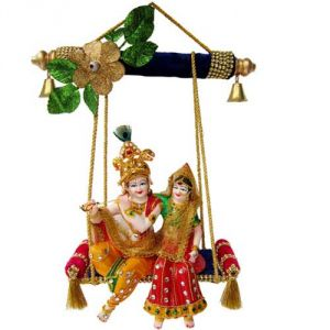 Radha Krishna On Swing