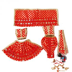 Creativity Centre Radha Krishna Red Dress With Sringar