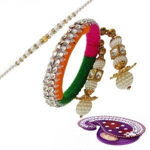Shimmering White Pearl Bangle Lumba Rakhi