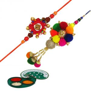 Rakshabandhan Colorful Pompom Lumba Rakhi Set