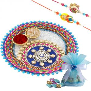 Rakshabandhan Pink Color Rakhi Thali With Chocolates N Two Rakhi