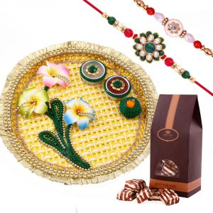 Rakshabandhan Awesome Rakhi Thali With Shimmering Rakhis N Chocolates