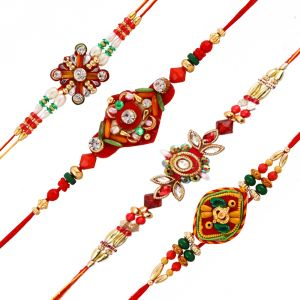 Precious & Semi Precious Rakhis (India) - Rakshabandhan Attractive Colorful Beads Rakhi Set