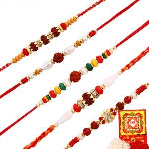 Precious & Semi Precious Rakhis (India) - Rakshabandhan Auspicious Rudraksha N Beads Rakhi Set