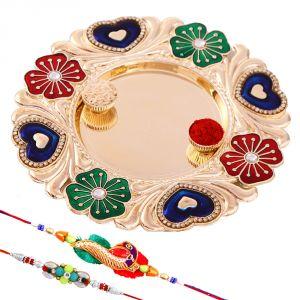 Rakhi Pooja Thalis (India) - Rakshabandhan Alluring Tikka Thali With Designer Rakhis