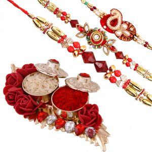 Rakhi Pooja Thalis (India) - Rakshabandhan Attractive N Beautiful Leaf Tikka Thali With Designer Rakhis