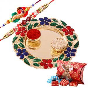 Rakhi Thali Hampers (India) - Rakshabandhan Rakhi Tikka Thali With Floral Thali N Rakhi