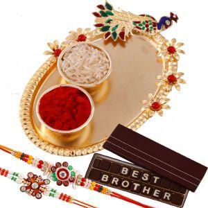 Rakhi Thali Hampers (India) - Rakshabandhan Rakhi Tikka Thali With Peacock Thali N Bet Bro Chocolate