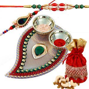Rakhi Thali Hampers (India) - Rakshabandhan Rakhi Tikka Thali With Dryfruit Combo