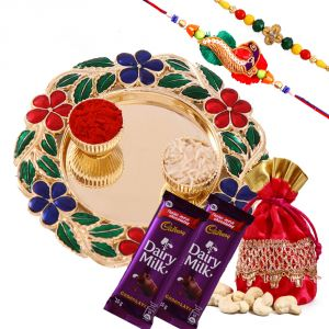 Rakhi Thali Hampers (India) - Rakshabandhan Floral Rakhi Tikka Thali With Chocolates N Cashewnut