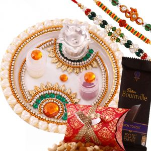 Rakhi Thali Hampers (India) - Rakshabandhan Floral Rakhi Thali Hamper With Chocolate N Dryfruits