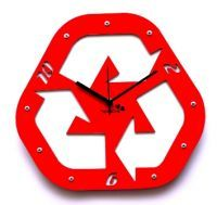 Panache Home Decor & Furnishing - Panache Red Recycle Design Wall Clock Pan204red