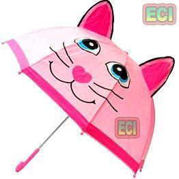 Umbrellas (Kids') - Premium Girls Kitty Cat Kids Umbrella Button Automatic For School Children
