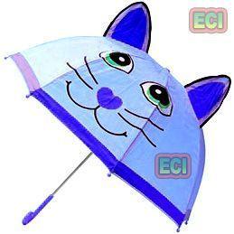 Umbrellas (Kids') - Premium Boys Kitty Cat Kids Umbrella, Button Automatic For School Children